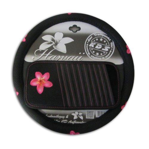 KDS Auto Lenkradhülle Lenkradbezug + CD-Fach Hawaii Blumen schwarz Rosa -