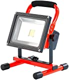 SZYSD LED 20W Rot Akku Baustrahler Fluter Wiederaufladbar Strahler Arbeitsleuchte IP65 Handlampen Flutlicht Kaltweiß
