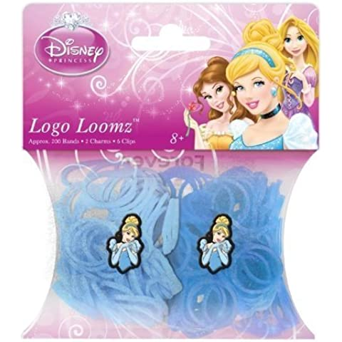 Hit Entertainment Licensed Logo Loomz Filler Loom Bands & 2 Charm Pack - Disney, DC Comics & More! (Disney Princesses - Cinderella) by Forever Collectibles