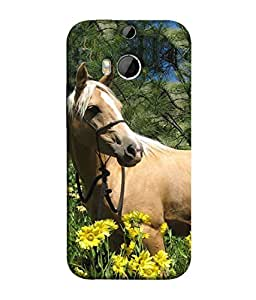 FUSON Designer Back Case Cover for HTC One M8 :: HTC M8 :: HTC One M8 Eye :: HTC One M8 Dual Sim :: HTC One M8s (Pony Field Coffee Colour Horse Strong Walking )