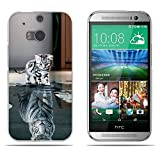 Fubaoda HTC M8/M8S Hülle,[Katze Wird Tiger] Anti-Dropping PC Handy-Tasche Back-Cover Ultra Slim Weich Silikon Transparent Designs Schutzhülle für HTC M8/M8S