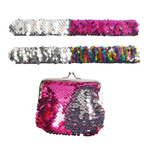 BESSKY Kindergeschenk Zweifarbig Umkehrbare Sequins Patzen Armband-Münzbeutel -