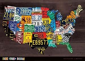 Carte des Etats-Unis II Impression d'art Print (91,44 x 66,04 cm)
