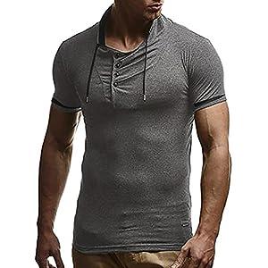 Manadlian Herren T-Shirt, T-Shirt mit Knopfleiste & Tiefem Ausschnitt Casual Slim Fit Kurzarmshirt Persönlichkeits Beiläufige Dünne Bluse der Männer Volltonfarbe Kurzarm