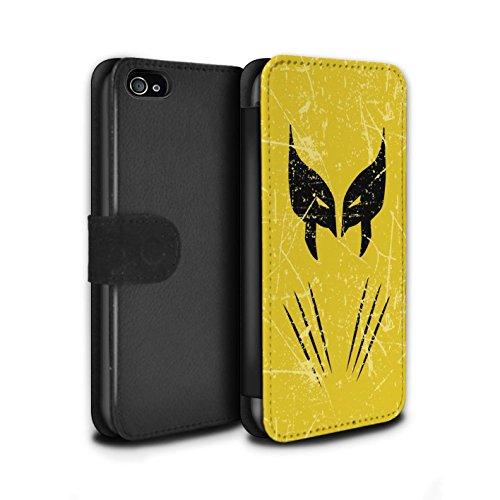Stuff4® PU-Leder Hülle/Case/Tasche/Cover für Apple iPhone 4/4S / Wolverine Inspiriert Muster/Antiheld Comic-Kunst Kollektion (Marvel-comic-iphone 4 Fälle)