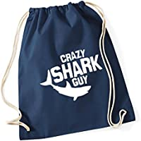 HippoWarehouse Crazy shark guy Drawstring Cotton School Gym Kid Bag Sack  37cm x 46cm 2fe6d0f74392a