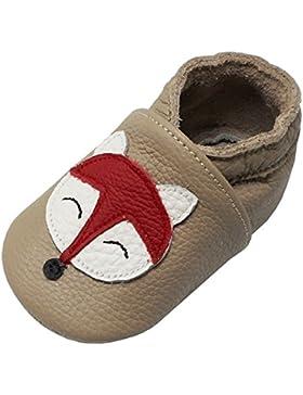 Yalion Baby Weiche Leder Lauflernschuhe Krabbelschuhe Hausschuhe Lederpuschen Fuchs in 3 Farben