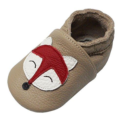 Yalion Baby Weiche Leder Lauflernschuhe Krabbelschuhe Hausschuhe Lederpuschen Fuchs (0-6 Monate, Khaki)