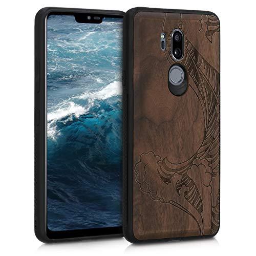 kwmobile Holz Schutzhülle für LG G7 ThinQ/Fit/One - Hardcase Hülle mit TPU Bumper Walnussholz in Wellen Design Dunkelbraun - Handy Case Cover