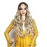 OMBRE Farbe lange gelockt Perücke Hitzeresistente Synthetik Perücke High Dichte Full Perücken für Frauen