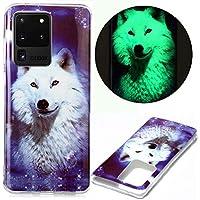 Miagon Leuchtend Luminous Hülle für Samsung Galaxy S20 Ultra,Fluoreszierend Licht im Dunkeln Handyhülle Silikon Case Handytasche Stoßfest Schutzhülle,Weiß Wolf