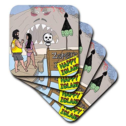 Diesslins Funny General Cartoons-Halloween-Zombie Survivor Spiel zeigt-Untersetzer, Keramik, set-of-4-Ceramic ()