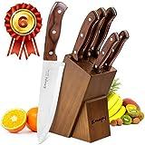 Emojoy Couteau de Cuisines, Ensemble de 6 Couteaux Professionnels avec Bloc en Bois Naturel, Couteau en Acier Inoxydable Allemand, Couteaux Rasoir