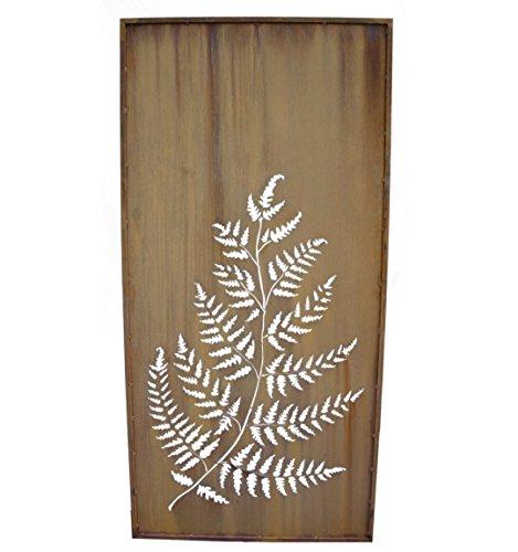 Metallmichl Edelrost Farn Paravent Höhe 200 cm Breite 100 cm mit Umrandung, Sichtschutz und Garten-Deko aus rost Metall