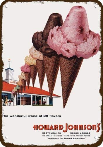 Laptopo 1958 Howard Johnson's Restaurant & Ice Cream Vintage Look Replica Metal Sign
