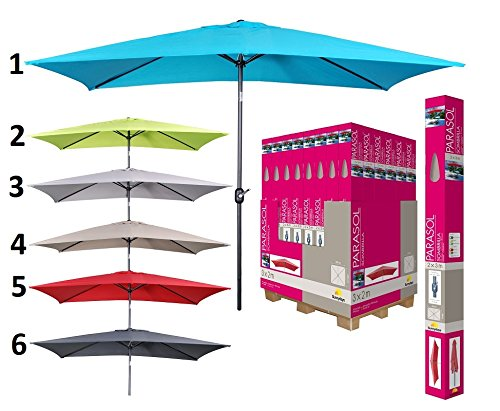 les colis noirs lcn Parasol Rectangle Inclinable 2x3m - Mod5 Groseille - Protection Soleil Été - 370