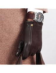 Los guantes calientes guantes y cómoda Guantes de cuero de oveja de cuero de invierno de los hombres gruesos guantes de ciclismo ocasional caliente ( Color : Marrón , Tamaño : S )