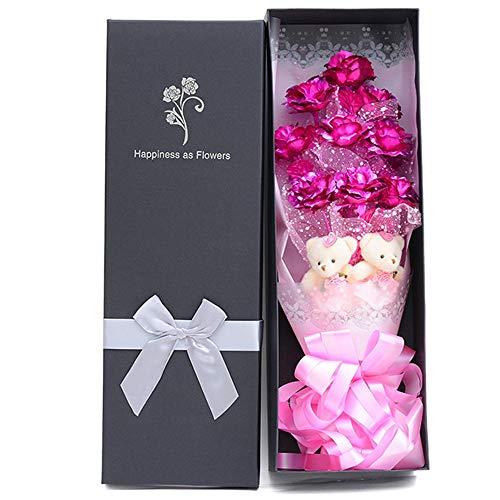 Baoffs Für Immer Rose Flower festlich Valentinstag-Weihnachtsabend Geschenk 24K Goldfolie Rose Bouquet Muttertagsgeschenk Einzigartige Geschenke zum Geburtstag (Farbe : 9 Powder) (24k Rose Bouquet)