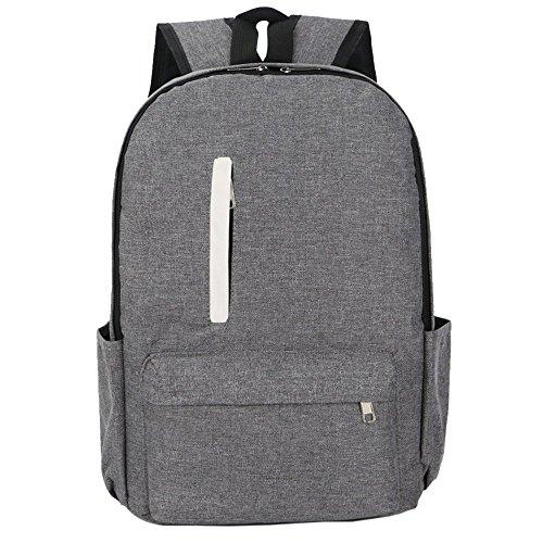 Rucksack Laptop Rucksack Colllege Style Notebook-Tasche Reiserucksack Business-Computer-Tasche Einfache Doktrin für Schüler Studenten Kaufleute. (Grau+Reißverschluss)