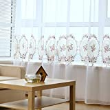 Vorhang Vorhänge Gardinen Wohnzimmer Gardine Wärmeisolierend Gestickte asiatische BaumwollvorhängeVerdunkelungsstoff einfaches modernes Schlafzimmer Erkerfenster Wohnzimmer Boden Bildschirm Fenster Flachbildschirm, 200, A