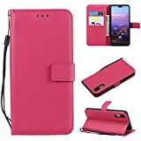 Codream, Huawei P20 Case Wallet Leather, Huawei P20 Case With Card Holder And Kickstand, Huawei P20 Wallet Case With Backcover, Backcover Case Case Compatible With Huawei P20 Rosy