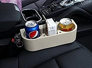 EASY4BUY CAR Seat Gap Organizer Beige Shelving Car Cup Phone Mug Drink Holder