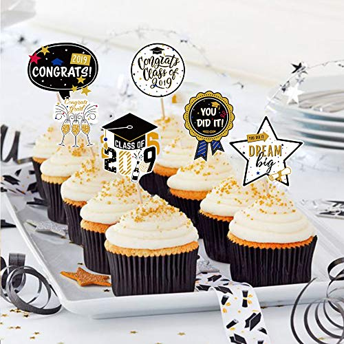 SUNBEAUTY Abschluss Cupcake Toppers 24er Graduierung Kuchendeko Abschlussfeier Muffin Dekoration Graduation Party Tortendekoration