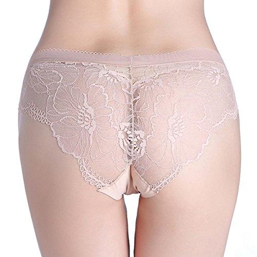 High-End-Eis Seide Weich Und Niedrige Taille Damen-Unterwäsche Im 3er-Pack Beige