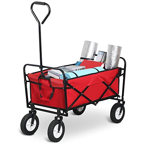 Popamazing Sports Quality Folding Wagon Collapsible Folding Utility Wagon Garden Cart Shopping Beach Toy New Test