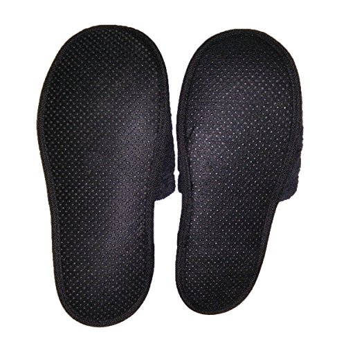 Pantofole in Spugna per il Bagno Uomo/Donna, 100 % cotone Nero
