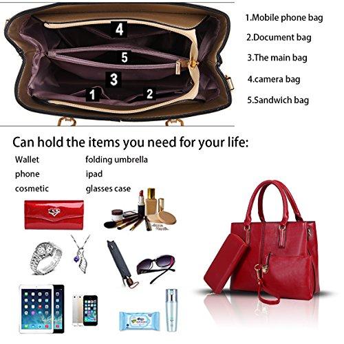 Sunas La borsa delle nuove donne adatta grande capacità 3 insiemi di sacchetto femminile del raso del sacchetto di spalla dell'unità di elaborazione rosso