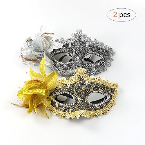 Venezianischen Augenmaske Blingbling Gold&Silber Strass-Steinen Maske Sexy Lace Masquerade Maske (Maskerade-maske Für Paare Gold)