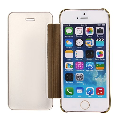 iPhone Case Cover Pour l'iPhone SE & 5s & 5 Miroir de galvanoplastie Étui en cuir horizontal Flip ( Color : Gold ) Gold