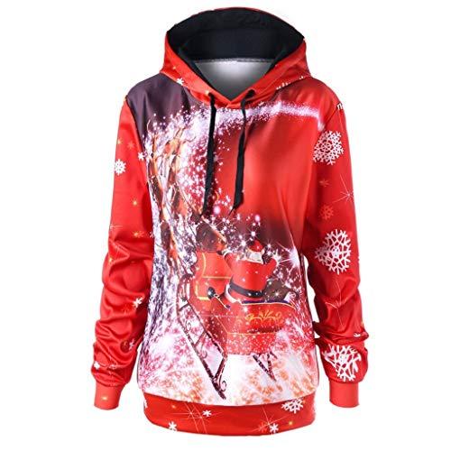 Soupliebe Damen Herbst Winter Weihnachten Printing Langarm Kapuzen Sweatershirt Top Bluse Kapuzen Sweatjacke Kapuzenpullover Hoodie Pullover