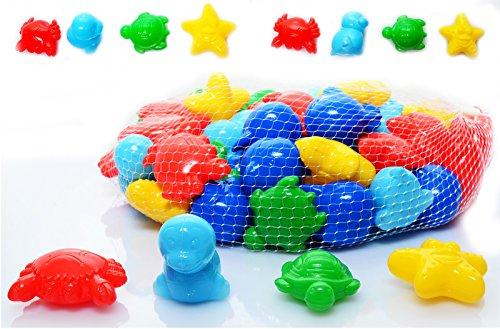 Koenig-Tom Lot de 50 balles de diverses formes (animaux, voitures, etc.) pour piscine à balles, TIERE & CO