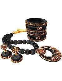 Jazz Fashions Black Silk Thread Designer Necklace Set For Women