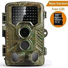 """Cámara de Caza Coolife con Visión Nocturna Trail Cámara 16MP 1080P HD Cámara Impermeable IP56 con PIR Infrarrojo Sensor de Movimiento (46 Pcs IR LEDs) para Noche de 2.4"""" LCD Vigilancia con 32G Tarjeta Micro SD"""