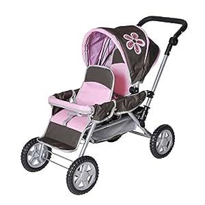Knorrtoys 16671 Big twin dolls twin stroller (Brown flower ...