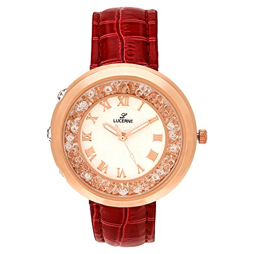 LUCERNE Analogue White Designer Dial Red Leather Strap Casual Gift Watches For Women A Modern Ladies Watch Gifts...