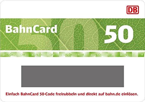 Produktbild Deutsche Bahn   BahnCard 50 Geschenkkarte (Gutschein ausschließlich einlösbar von Reisenden zwischen 27 und 59 Jahre!) - exklusiv bei Amazon