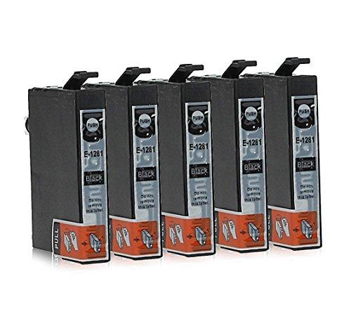 5 Cartucce Per Stampanti compatibile con Epson T1281 (Colori A Getto D'inchiostro Di Ricambio)