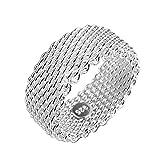 GYJUN moda lujo malla Simple creativo plata anillo de la venda para las mujeres , 6