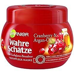 GARNIER Wahre Schätze Haar-Maske / Haarkur für intensive Haarpflege / Bewahrt den Farbglanz (mit Argan-Öl & Cranberry Extrakt - für coloriertes oder gesträhntes Haar) 1 x 300ml