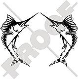 espadon marlin poisson 142,2cm (187mm) Bumper en vinyle autocollants, Stickers x2–Choix de 22couleurs