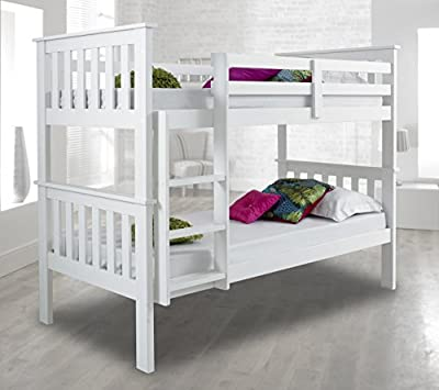Atlantis Pinewood White Bunk Bed Two Sleeper Quality Solid Pine Wood Bunk Bed With 2 Orthopaedic Mattresses - low-cost UK Bunkbed shop.