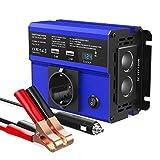 SONRU 300W Wechselrichter DC 12V auf AC 230V Spannungswandler, Auto Ladegerät mit 4.8A Dual USB Ports, 2 Kfz Zigarettenanzünder Verteiler, 1 EU Steckdose, LED Display, Autobatterieclips