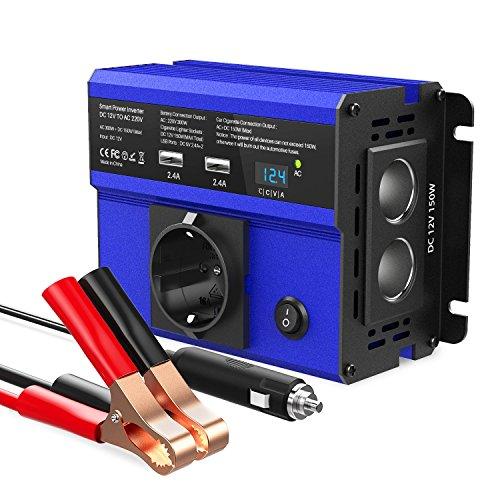 SONRU 300W Spannungswandler DC 12V auf AC 230V Wechselrichter Auto Ladegerät mit 4.8A Dual USB Ports, 2 Kfz Zigarettenanzünder Verteiler, 1 EU Steckdose, LED Display, Autobatterieclips