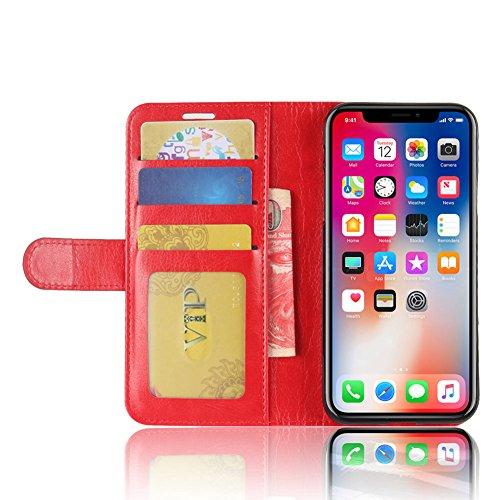KM-WEN® Etui pour Apple iPhone X (5,8 pouces) Up-Down Open Style Fermeture Magnétique avec Fonction Verticale et ID de Crédit Porte-Cartes Slot PU Cuir Étui Portefeuille Protecteur Couverture Arrière  Rouge