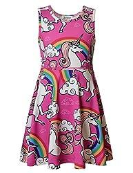 Jxstar Little Girls Princess Animal Dress Clouds Unicorn Printed Sleeveless Skater Dress for Girl's 3years-13years