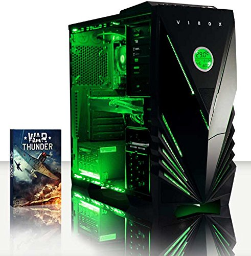 Vibox Submission 29 Gaming PC con Gioco War Thunder, 4GHz AMD FX Quad Core Processore, nVidia GeForce GTX 960 Scheda Grafica, 2TB HDD, 16GB RAM, Case Predator, Neon Verde